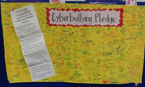 To wrap up our discussion on Cyberbullying, 3rd -6th Graders signed a pledge.  Together, we can do this!