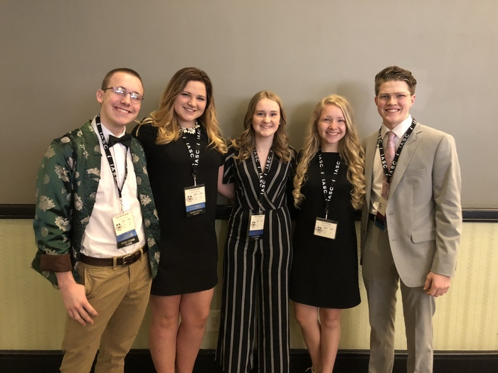 Our THS student council state delegates are representing our district elegantly at the formal banquet. Evan Blievernicht, Gracey Koester, Ashley Thompson, Lily Hemmen, Will Wortman