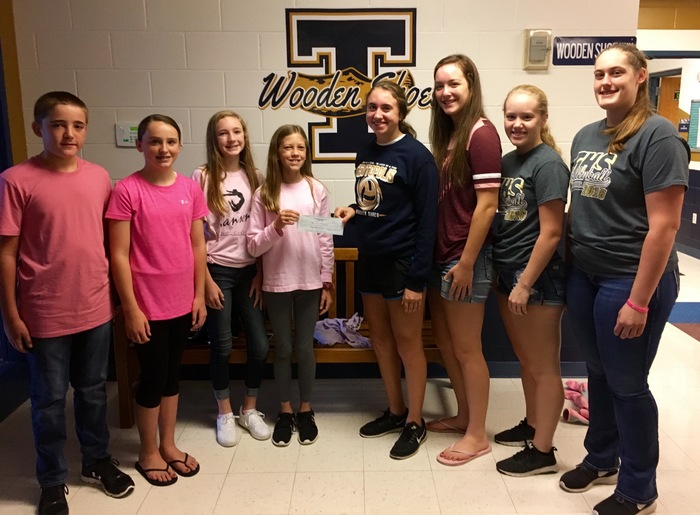 "Mrs. Gaddis' homeroom won the TJHS Book Fair Enchanted Creature Homeroom Coin Competition!  7JG chose to donate the $208.13 to The Ronald McDonald House in memory of Elizabeth Waldhoff in conjunction with the ""Wear Pink"" volleyball game on Thursday night!  Thank you to Mrs. Gaddis' homeroom, and thank you & GOOD LUCK to the THS Volleyball team!"
