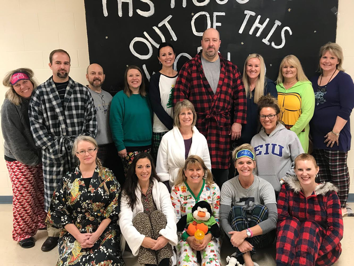 THS staff relaxing in pj's on pajama day for homecoming week!