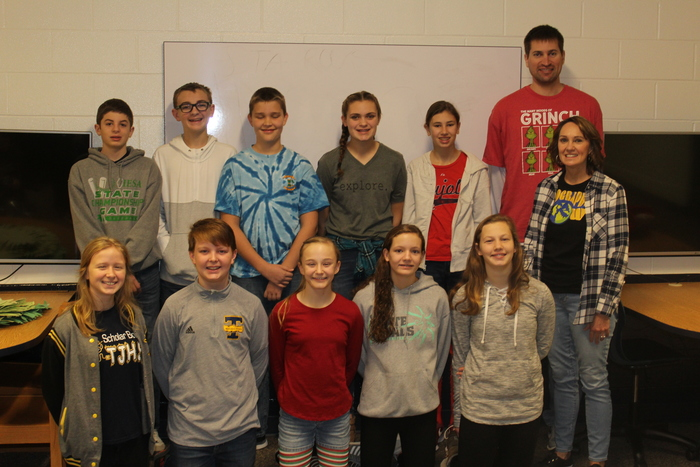 Geography Bee Winner for TJHS.....1st place is Olivia Copple and 2nd place goes to Andrew Esker and Eli Hanson  picture....l to r… front row...Bailey Niccum, August Siemer, Olivia Copple, Joleen Deters,  Athena Walker Back row….Eli Hanson, Casey Deters, Andrew Esker, Alaina Helmink, Melissa Brummer Teachers….Mrs. Shela Yagow and Mr. Jordan Pals