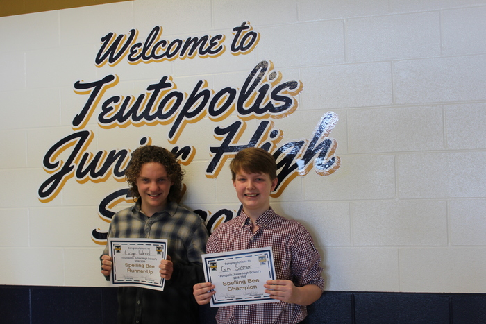 TJHS Spelling Bee 1st Runner up Gage Wendt and Spelling Bee Champion Gus Siemer