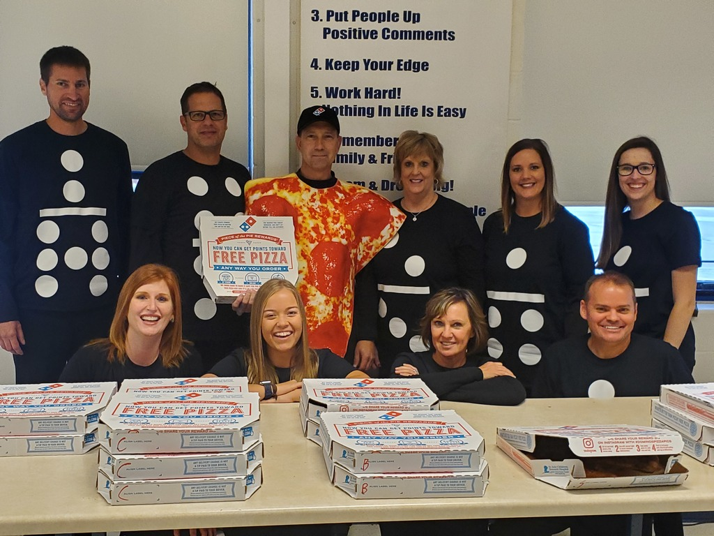 TJHS staff surprised the students with Domino's pizza