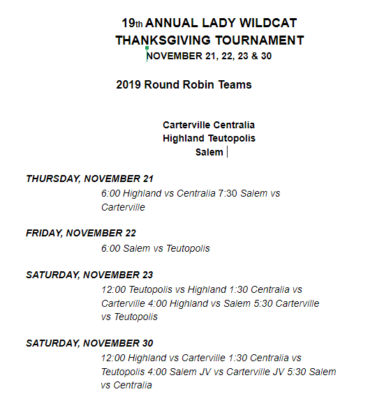 Salem Thanksgiving Tournament Schedule