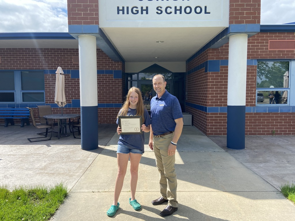Anabelle Habing (Principal's Award) with Mr. Drees