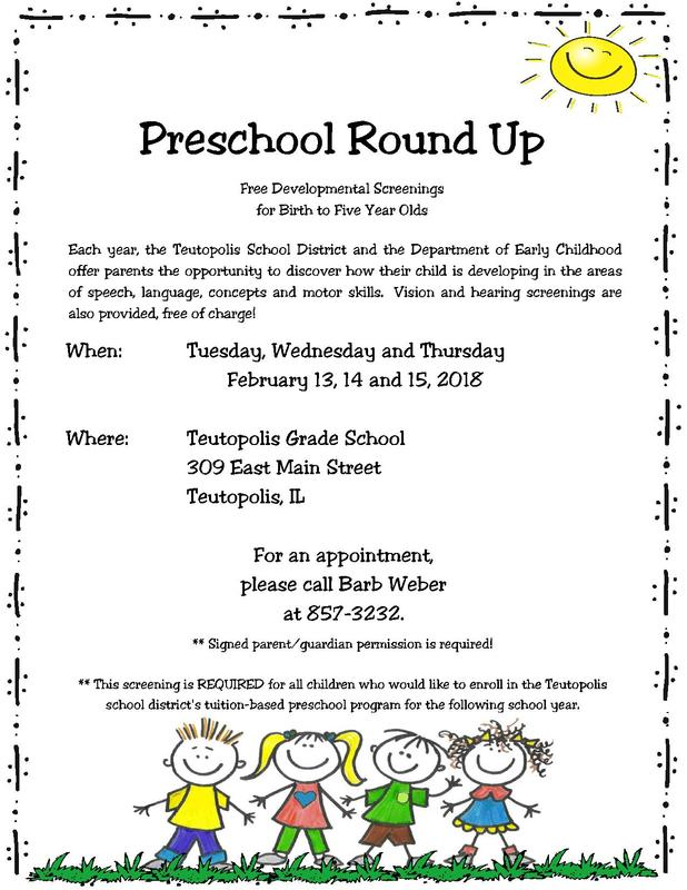 Preschool Screening February 13, 14 and 15